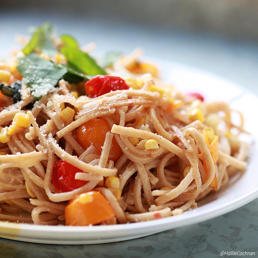 Cooking an easy Summer Spaghetti Dinner